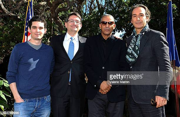 Damien Chazelle Axel Cruau Abderrahmane Sissako and Alexandre Desplat attends The Consul General Of France Mr Axel Cruau Honors The French Nominees...