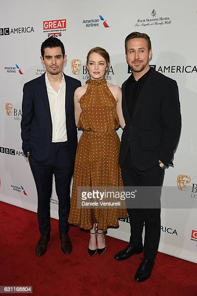 Damien Chazelle Emma Stone and Ryan Gosling attend The BAFTA Tea Party at Four Seasons Hotel Los Angeles at Beverly Hills on January 7 2017 in Los...