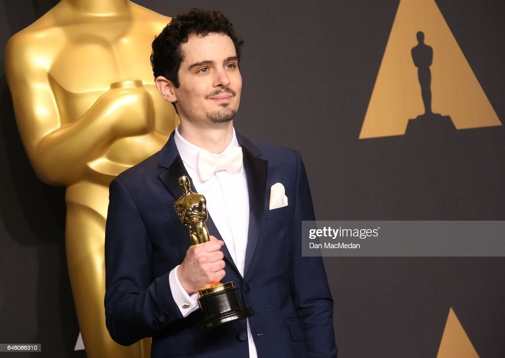 Damien Chazelle poses in the press room with the Oscar for Best Director for 'La La Land,' at the 89th Annual Academy Awards at Hollywood & Highland Center on February 26, 2017 in Hollywood, California.