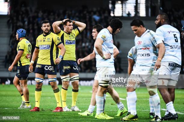 Damien Chouly and Paul Jedrasiak of Clermont looks dejected during the Top 14 match between Racing 92 and Clermont Auvergne at Stade PierreMauroy on...