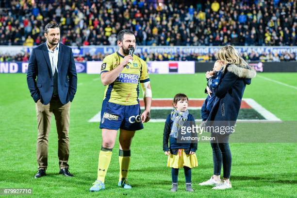 Damien Chouly Clement Ric of Clermont and his family during the Top 14 match between Clermont Auvergne and La Rochelle on May 6 2017 in...