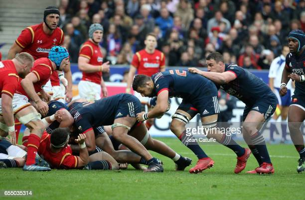 Damien Chouly Louis Picamoles of France in action during the RBS 6 Nations rugby match between France and Wales at Stade de France on March 18 2017...