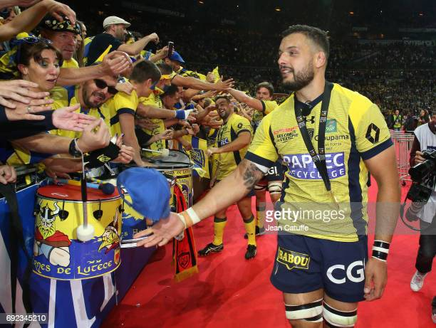 Damien Chouly of ASM Clermont celebrates the victory following the Top 14 final match between RC Toulon and ASM Clermont Auvergne at Stade de France...
