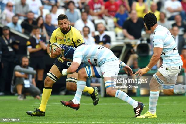 Damien Chouly of Clermont and Bernard Le Roux of Racing during the Top 14 semi final match between Racing 92 and Clermont Auvergne at Orange...