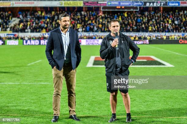 Damien Chouly of Clermont and Franck Azema coach of Clermont during the Top 14 match between Clermont Auvergne and La Rochelle on May 6 2017 in...