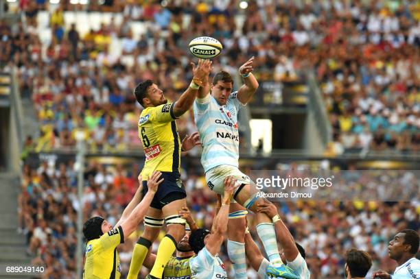 Damien Chouly of Clermont and Gerbrandt Graubler of Racing during the Top 14 semi final match between Racing 92 and Clermont Auvergne at Orange...