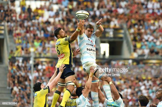 Damien Chouly of Clermont and Gerbrandt Grober of Racing during the Top 14 semi final match between Racing 92 and Clermont Auvergne at Orange...