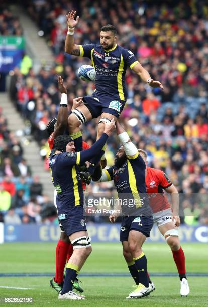 Damien Chouly of Clermont Auvergne wins lineout ball during the European Rugby Champions Cup Final between ASM Clermont Auvergne and Saracens at...