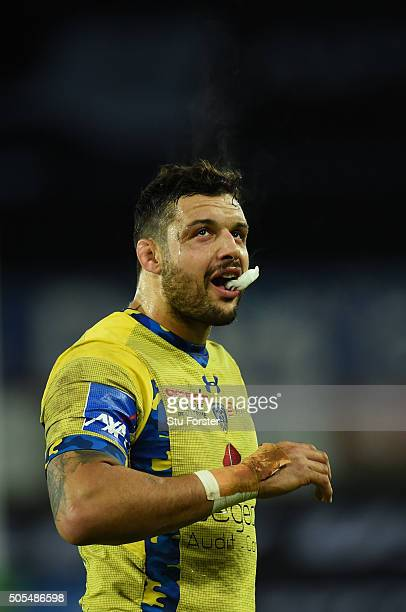 Damien Chouly of Clermont reacts during the European Rugby Champions Cup Pool 2 match between Ospreys v ASM Clermont Auvergne at Liberty Stadium on...