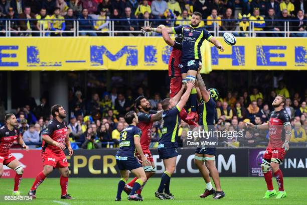 Damien Chouly of Clermont wins lineout ball during the European Champions Cup quarter final match between Clermont and Toulon at Stade Marcel...