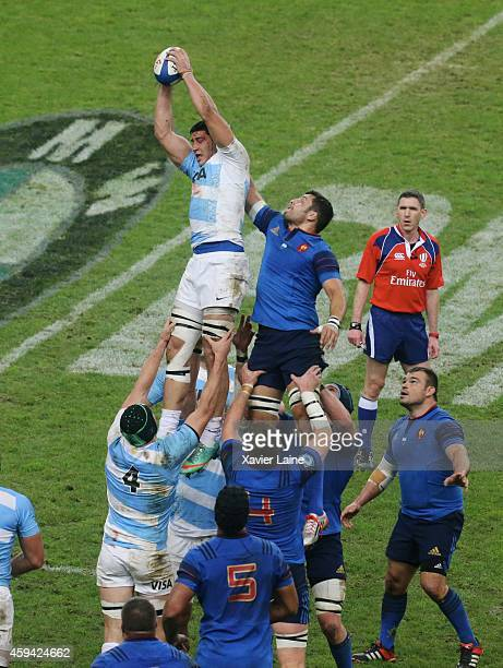 Damien Chouly of France and Javier Ortega Desio of Argentina Pumas in action during the international rugby test match between France and Argentina...