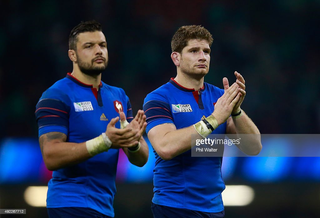 Damien Chouly of France and Pascal Pape of France applaud the fans after the 2015 Rugby World Cup Pool D match between France and Ireland at Millennium Stadium on October 11, 2015 in Cardiff, United Kingdom.