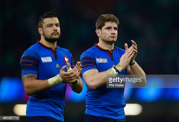 Damien Chouly of France and Pascal Pape of France applaud the fans after the 2015 Rugby World Cup Pool D match between France and Ireland at...