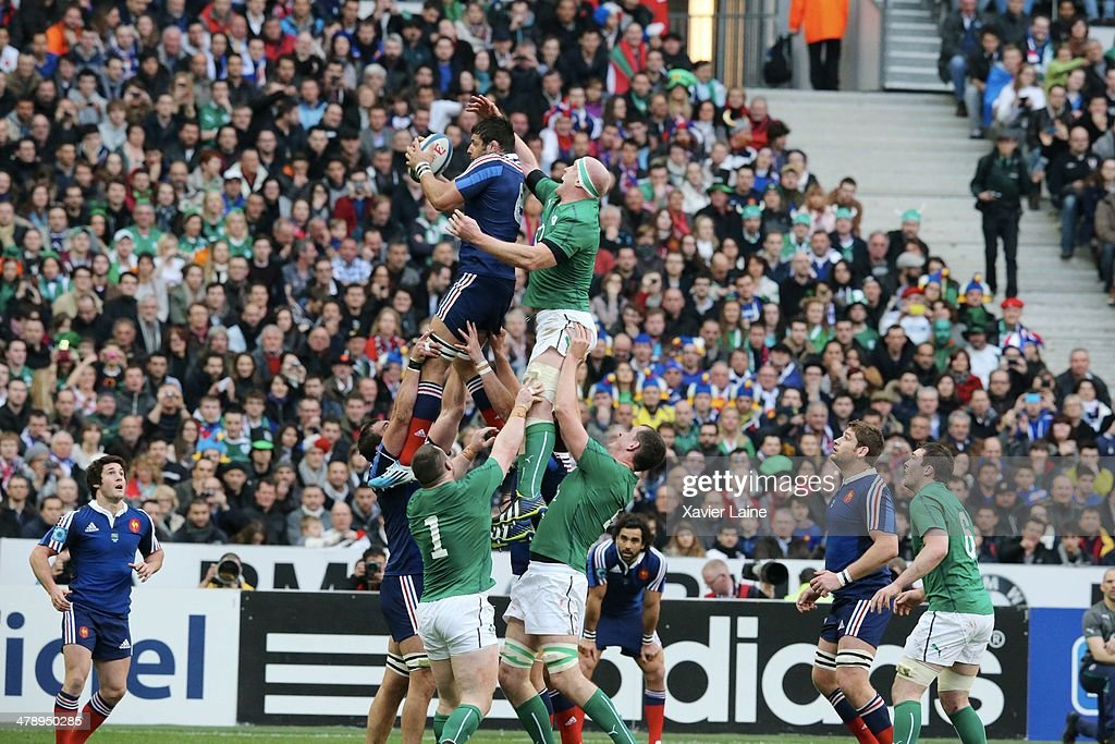 Damien Chouly of France and Paul O'Connell of Ireland during the RBS 6 Nations match between France and Ireland at Stade de France on march 15, 2014 in Paris, France.