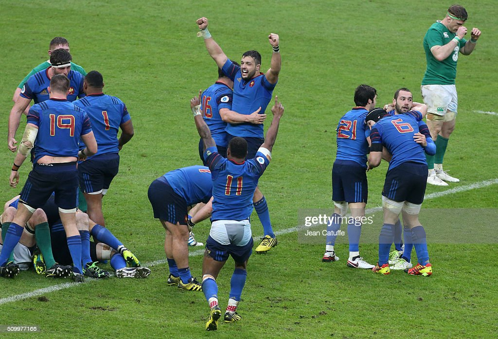 <a gi-track='captionPersonalityLinkClicked' href=/galleries/search?phrase=Damien+Chouly&family=editorial&specificpeople=634813 ng-click='$event.stopPropagation()'>Damien Chouly</a> of France and team-mates celebrate winning the RBS 6 Nations match between France and Ireland at Stade de France on February 13, 2016 in Saint-Denis nearby Paris, France.