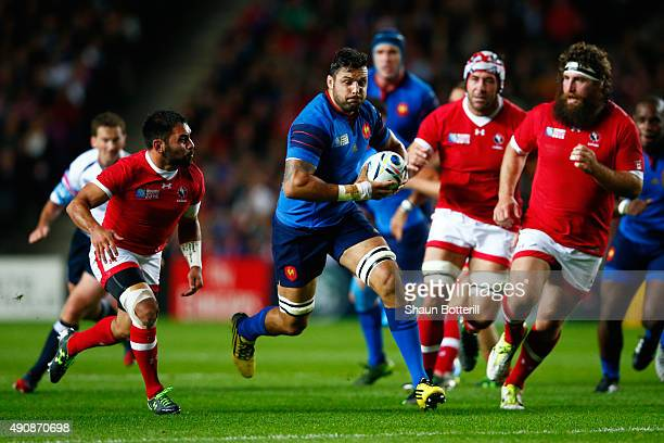 Damien Chouly of France attempts to break through during the 2015 Rugby World Cup Pool D match between France and Canada at Stadium mk on October 1...