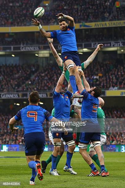 Damien Chouly of France climbs highest at a lineout during the RBS Six Nations match between Ireland and France at the Aviva Stadium on February 14...