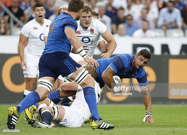 Damien Chouly of France in action during the international friendly match in preparation of 2015 Rugby World Cup between France and England at Stade...
