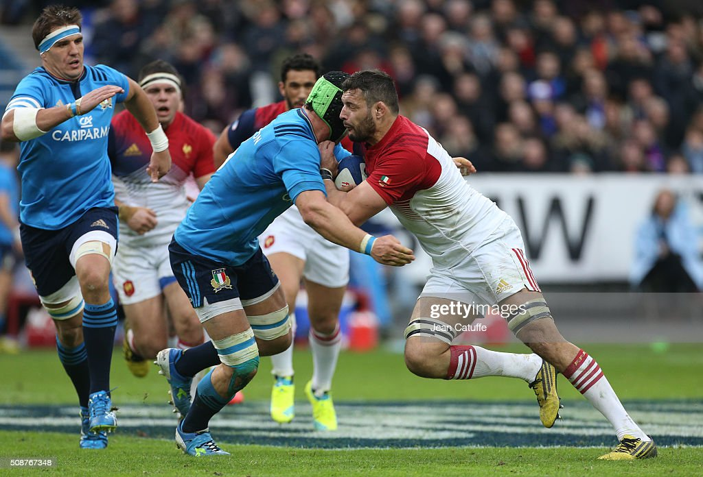<a gi-track='captionPersonalityLinkClicked' href=/galleries/search?phrase=Damien+Chouly&family=editorial&specificpeople=634813 ng-click='$event.stopPropagation()'>Damien Chouly</a> of France in action during the RBS 6 Nations match between France and Italy at Stade de France on February 6, 2016 in Saint-Denis nearby Paris, France.