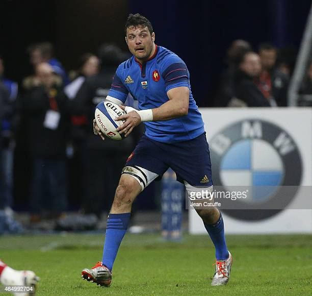 Damien Chouly of France in action during the RBS Six Nations rugby match between France and Wales at Stade de France stadium on February 28 2015 in...