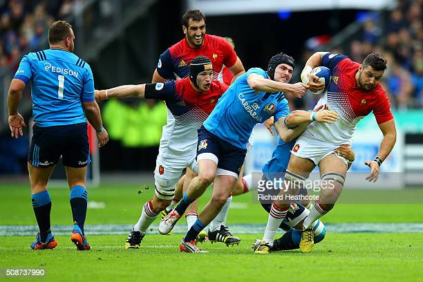 Damien Chouly of France is tackled by Carlo Canna of Italy during the RBS Six Nations match between France and Italy at Stade de France on February 6...