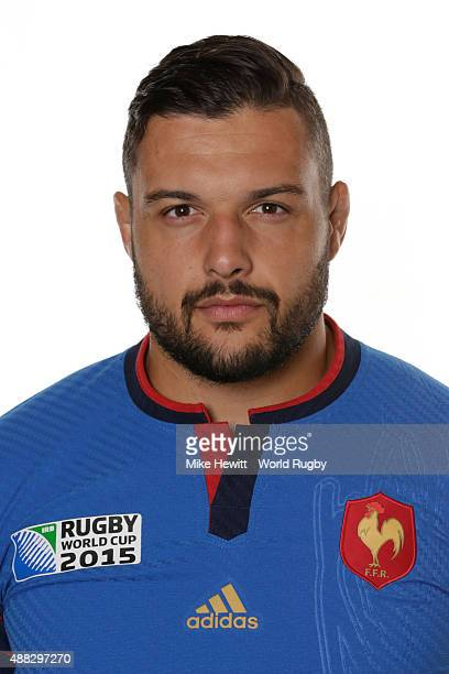 Damien Chouly of France poses during the France Rugby World Cup 2015 squad photo call at the Selsdon Park Hotel on September 15 2015 in Croydon...