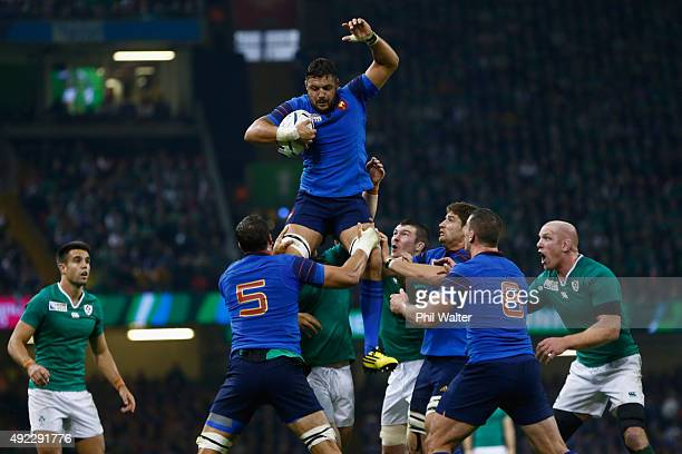 Damien Chouly of France takes the ball in the lineout during the 2015 Rugby World Cup Pool D match between France and Ireland at Millennium Stadium...