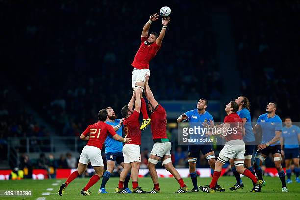Damien Chouly of France wins a lineout during the 2015 Rugby World Cup Pool D match between France and Italy at Twickenham Stadium on September 19...