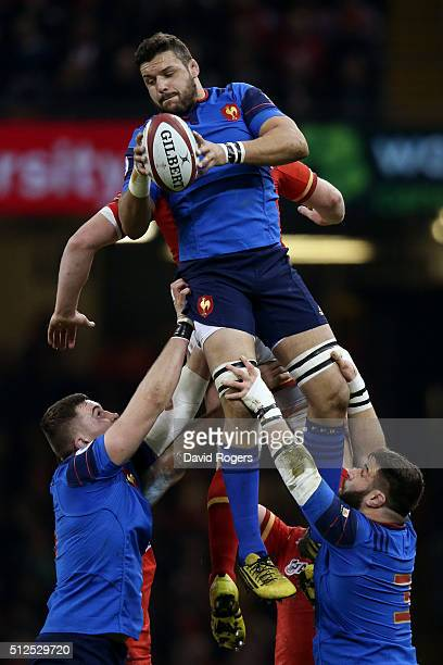 Damien Chouly of France wins lineout ball during the RBS Six Nations match between Wales and France at the Principality Stadium on February 26 2016...
