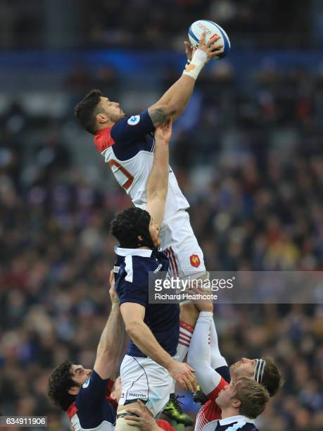 Damien Chouly of France wins lineout ball under pressure from Tim Swinson of Scotland during the RBS Six Nations match between France and Scotland at...