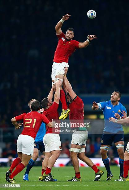 Damien Chouly of France wins the lineout during the 2015 Rugby World Cup Pool D match between France and Italy at Twickenham Stadium on September 19...