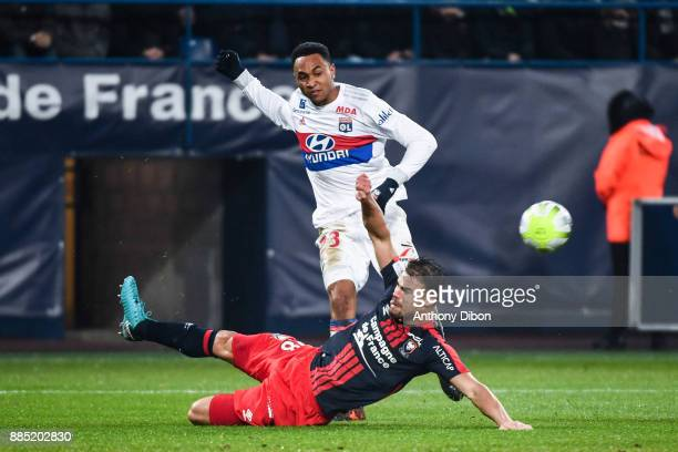 Damien Da Silva of Caen and Kenny Tete of Lyon during the Ligue 1 match between SM Caen and Olympique Lyonnais at Stade Michel D'Ornano on December 3...