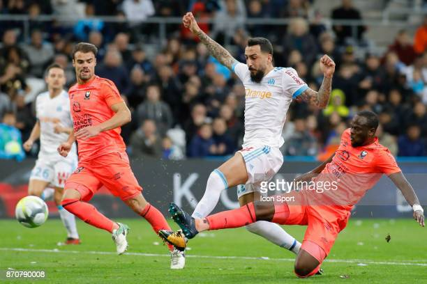 Damien Da Silva of Caen Konstantinos Mitroglou of Marseille and Ismael Diomande of Caen during the Ligue 1 match between Olympique Marseille and SM...