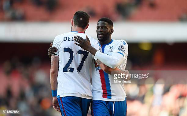 Damien Delaney of Crystal Palace and Bakary Sako of Crystal Palace celebrate following the Barclays Premier League match between Arsenal and Crystal...
