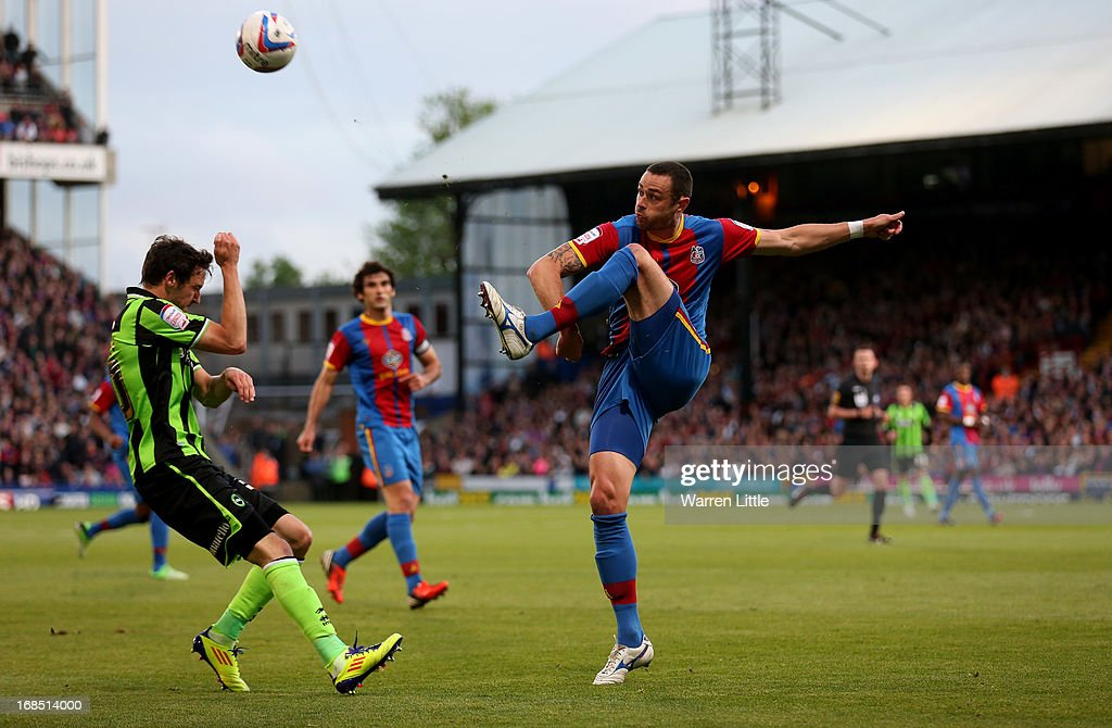 Damien Delaney of Crystal Palace clears the ball during the npower Championship play off semi final first leg at Selhurst Park on May 10, 2013 in London, England.