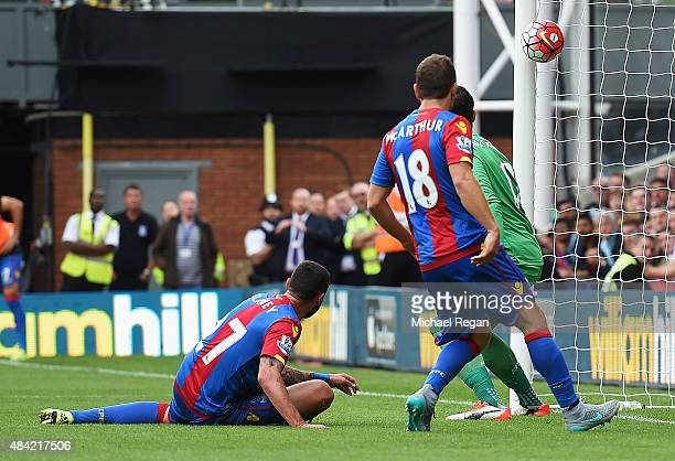 Damien Delaney of Crystal Palace scores an own goal past goalkeeper Alex McCarthy of Crystal Palace during the Barclays Premier League match between...