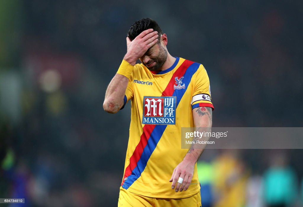 Damien Delaney of Crystal Palace shows dejection after the 0-1 defeat in the Premier League match between Stoke City and Crystal Palace at Bet365 Stadium on February 11, 2017 in Stoke on Trent, England.