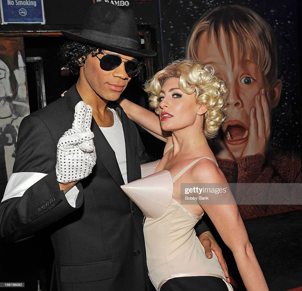 Damien Deshaun Smith as 'Michael Jackson' and Meg Lanzarone as 'Madonna Past' attends Totally Tubular Time Machine at Culture Club on January 19, 2013 in New York City.