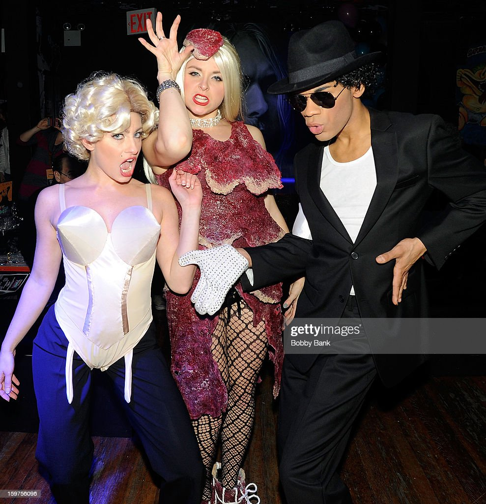 Damien Deshaun Smith as 'Michael Jackson', Ann-Marie Sepe as 'Lady Gaga' and Meg Lanzarone as 'Madonna Past' attends Totally Tubular Time Machine at Culture Club on January 19, 2013 in New York City.