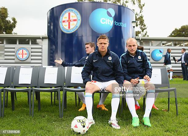 Damien Duff and Aaron Mooy of Melbourne City are seen during a Melbourne City FC portrait session on April 28 2015 in Melbourne Australia