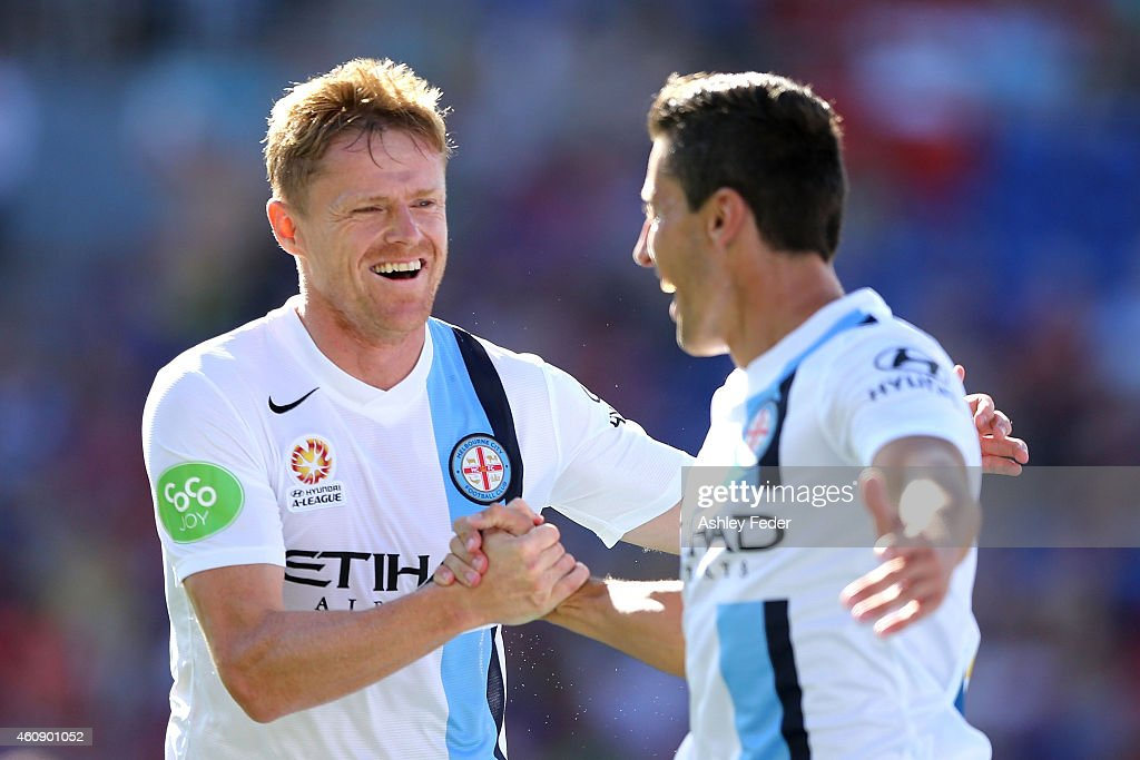 <a gi-track='captionPersonalityLinkClicked' href=/galleries/search?phrase=Damien+Duff&family=editorial&specificpeople=171295 ng-click='$event.stopPropagation()'>Damien Duff</a> and <a gi-track='captionPersonalityLinkClicked' href=/galleries/search?phrase=Robert+Koren&family=editorial&specificpeople=740564 ng-click='$event.stopPropagation()'>Robert Koren</a> of Melbourne City celebrate a goal during the round 14 A-League match between the Newcastle Jets and Melbourne City FC at Hunter Stadium on December 30, 2014 in Newcastle, Australia.