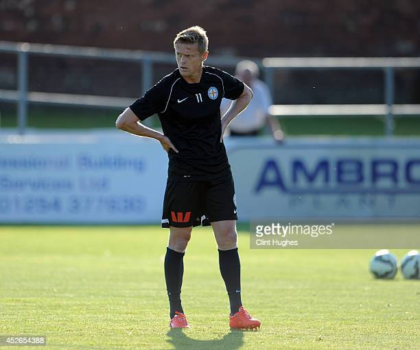 Damien Duff of Melbourne City warms up prior to kick off during the Pre Season Friendly match between Bolton Wanderers XI and Melbourne City at the...