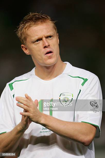 Damien Duff of Republic of Ireland lines up for the National Anthem before the World Cup qualifying group 4 match between Cyprus and Republic of...