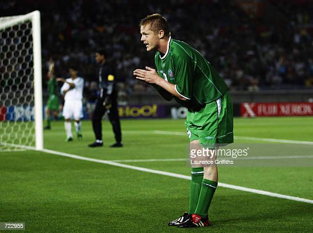 Damien Duff of the Republic of Ireland celebrates his goal during the FIFA World Cup Finals 2002 Group E match between Republic of Ireland and Saudi...