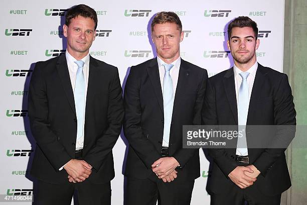 Damien Duff Robbie Wielaert and Ben Garuccio of Melbourne City arrive for the UBET relaunch at Carriageworks on April 29 2015 in Sydney Australia