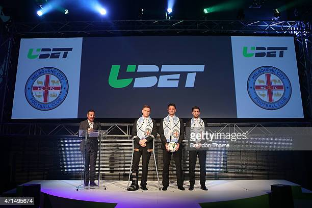 Damien Duff Robbie Wielaert and Ben Garuccio of Melbourne City pose on stage during the UBET relaunch at Carriageworks on April 29 2015 in Sydney...