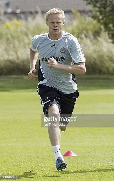 Damien Duff sprints during his first Newcastle United training session on July 24 2006 in NewcastleuponTyne England