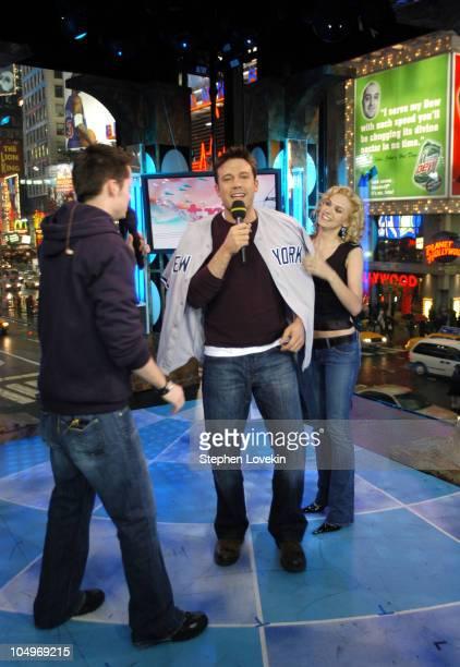 Damien Fahey Ben Affleck and Hilarie Burton during Ben Affleck Liv Tyler Angelina Jolie and Olivier Martinez Visit MTV's 'TRL' at MTV Studios in New...