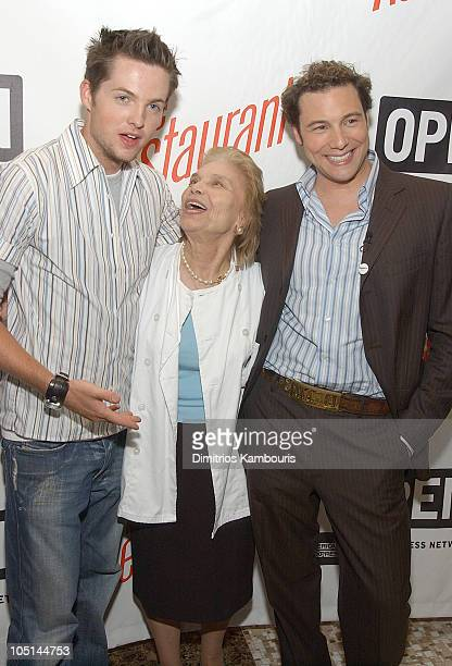 Damien Fahey Mama Nicolina and Rocco DiSpirito during American Express Viewing Party of 'The Restaurant' at Rocco's on 22nd in New York City New York...