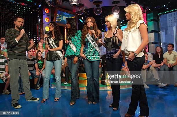 Damien Fahey talks to Miss Universe Riyo Mori Miss USA Rachel Smith Miss Teen USA Hilary Cruz former Miss USA Tara Conner and former Miss Teen USA...